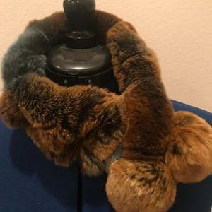 Brown/Blue Rex Rabbit Fur Neck Scarf